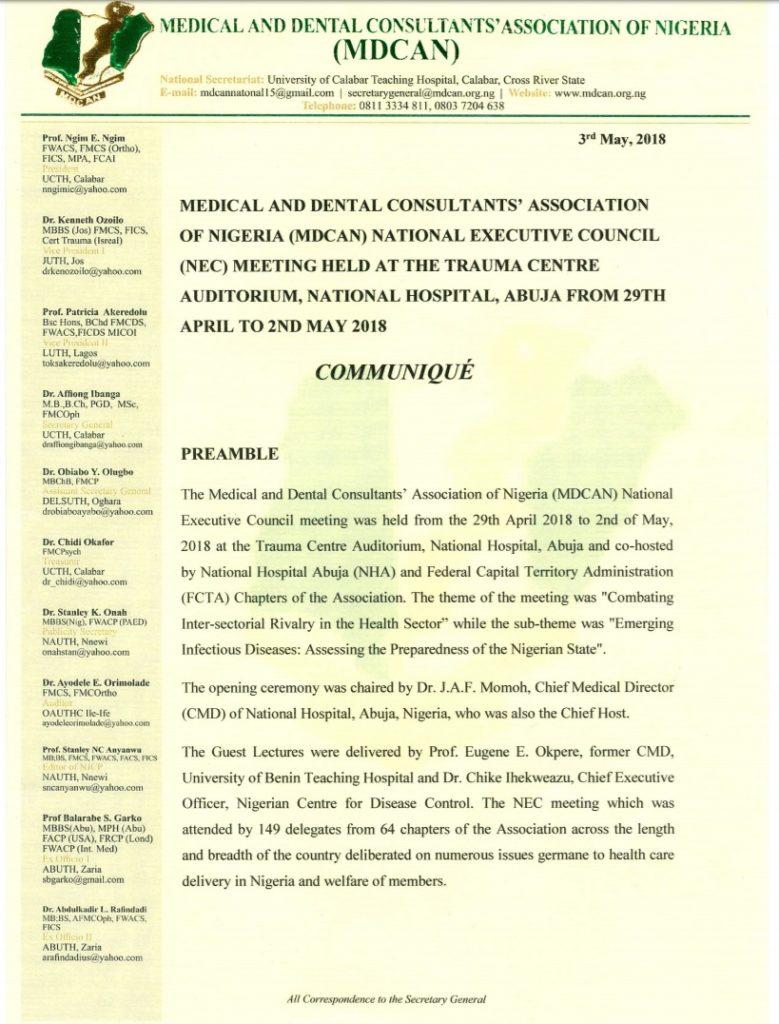 NEC metting - Communique Page 1